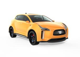 白バックにある黄色の電気自動車SUVの写真素材 [FYI04647982]