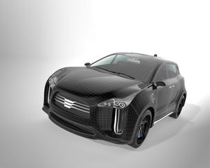 ワイヤーフレームがかかったブラックの電気自動車SUVの写真素材 [FYI04647986]