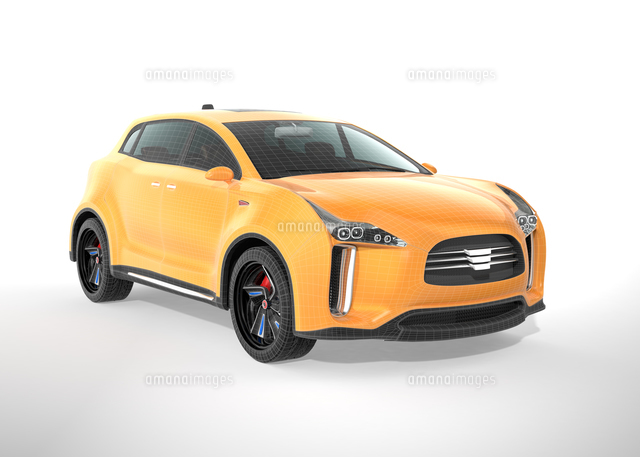 ワイヤーフレームがかかった黄色の電気自動車SUVの写真素材 [FYI04647990]