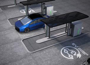 パブリック電気自動車の充電ポイントコンセプト。急速充電器の他、ソーラーパネル、バッテリーも装備の写真素材 [FYI04647992]