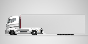 ハイブリッドトラックイメージ。トレーラーの車体にコピースペース付きの写真素材 [FYI04648017]