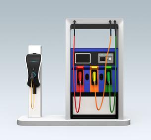 電気自動車用急速充電機が備えるガソリンスタンドのイメージの写真素材 [FYI04648062]