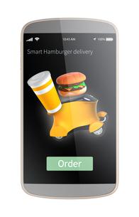 スマートフォン用自動運転配送車でハンバーガー配達の注文画面イメージ。オリジナルデザインの写真素材 [FYI04648064]