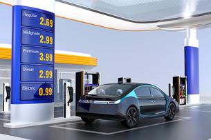 電気自動車用急速充電機が備えるサービスステーションに充電している自動運転車のイメージの写真素材 [FYI04648067]