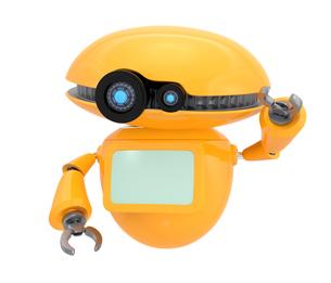 手を振るオレンジ色のロボット。オリジナルデザイン。の写真素材 [FYI04648068]