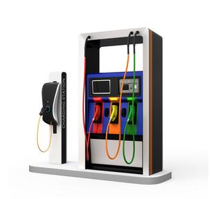 電気自動車用急速充電機が備えるガソリンスタンドのイメージの写真素材 [FYI04648069]