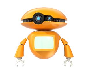 手を振るオレンジ色のロボット。オリジナルデザイン。の写真素材 [FYI04648074]