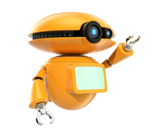 手を振るオレンジ色のロボット。オリジナルデザイン。の写真素材 [FYI04648075]