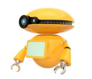 手を振るオレンジ色のロボット。オリジナルデザイン。の写真素材 [FYI04648082]