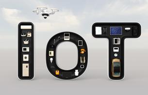 IoT文字にあるスマート家電。暮らしにあるモノのインタネットコンセプトの写真素材 [FYI04648086]
