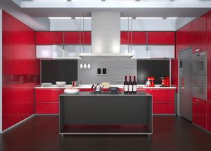 ワインレッドカラーテーマのアイランドシステムキッチンインテリアのイメージの写真素材 [FYI04648092]