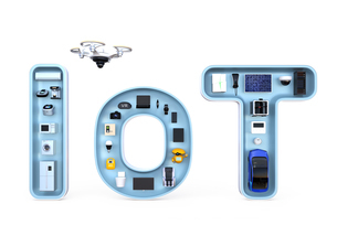 IoT文字にあるスマート家電。暮らしにあるモノのインターネットコンセプトの写真素材 [FYI04648095]