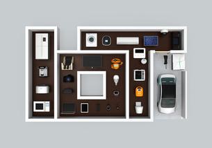 IoT文字にあるスマート家電。暮らしにあるモノのインタネットコンセプトの写真素材 [FYI04648098]