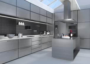 シルバー調アイランドシステムキッチンインテリアのイメージの写真素材 [FYI04648099]