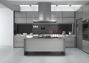 シルバー調アイランドシステムキッチンインテリアのイメージの写真素材 [FYI04648102]