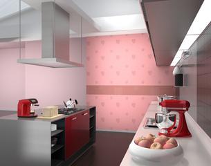 モンステラ柄のピンク色壁紙とワインレッドアイランドシステムキッチンインテリアのイメージの写真素材 [FYI04648104]