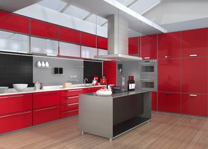 ワインレッドカラーテーマのアイランドシステムキッチンインテリアのイメージの写真素材 [FYI04648106]