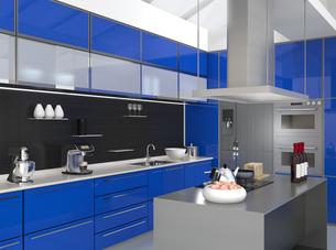 青色でカラーコーディネートされたアイランドシステムキッチンインテリアのイメージの写真素材 [FYI04648108]