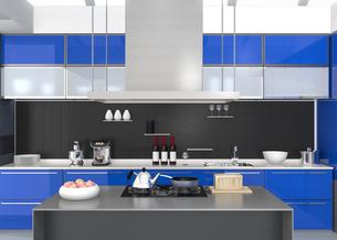 青色でカラーコーディネートされたアイランドシステムキッチンインテリアのイメージの写真素材 [FYI04648109]