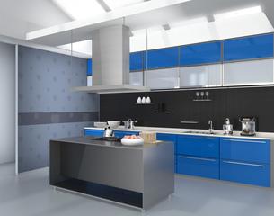 青色でカラーコーディネートされたアイランドシステムキッチンインテリアのイメージの写真素材 [FYI04648111]