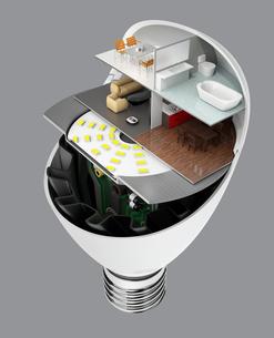 LED電球にあるくらしのコンセプトイメージの写真素材 [FYI04648119]