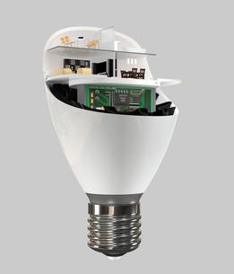 LED電球にあるくらしのコンセプトイメージの写真素材 [FYI04648128]