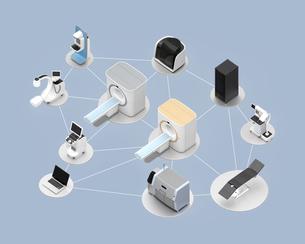メディカルイメージング診断装置のネットワークコンセプトの写真素材 [FYI04648138]