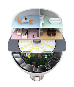 LED電球にあるくらしのコンセプトイメージの写真素材 [FYI04648157]