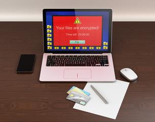ランサムウェア被害を受けたパソコンのイメージの写真素材 [FYI04648188]