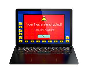 ランサムウェア被害を受けたパソコンのイメージの写真素材 [FYI04648190]