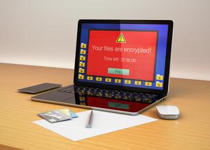 ランサムウェア被害を受けたパソコンのイメージの写真素材 [FYI04648191]