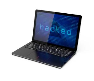 ハッキングされたノートパソコンのイメージの写真素材 [FYI04648193]