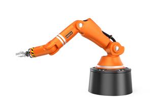 オレンジ色フロアマウント式ロボットアームの写真素材 [FYI04648207]