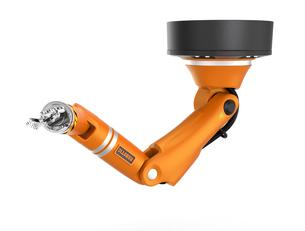 オレンジ色天井マウント式ロボットアームの写真素材 [FYI04648208]