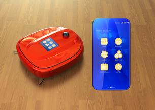 タッチパネル付きお掃除ロボットと専用アプリが備えたスマートフォン。スマート家電コンセプトの写真素材 [FYI04648233]