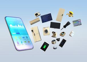 スマートフォンで家電を制御、モニタリングするコンセプトの写真素材 [FYI04648252]