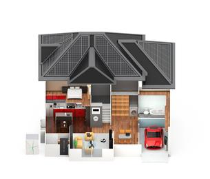 スマートホームのインテリア。省エネ家電製品によるエネルギー消費削減で環境負荷を低減できるの写真素材 [FYI04648255]