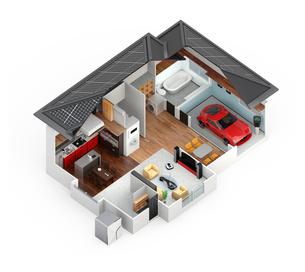スマートホームのインテリア。省エネ家電製品によるエネルギー消費削減で環境負荷を低減できるの写真素材 [FYI04648256]