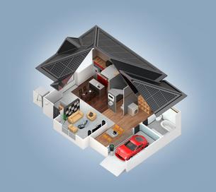 スマートホームのインテリア。省エネ家電製品によるエネルギー消費削減で環境負荷を低減できるの写真素材 [FYI04648257]