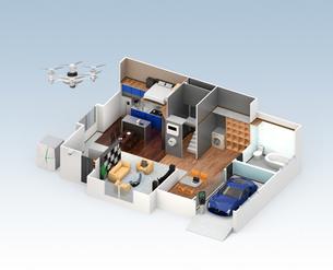 スマートホームのインテリア。省エネ家電製品によるエネルギー消費削減で環境負荷を低減できるの写真素材 [FYI04648259]