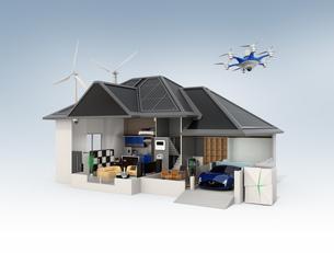 スマートホームのインテリア。省エネ家電製品によるエネルギー消費減と太陽光発電で売電できるの写真素材 [FYI04648261]