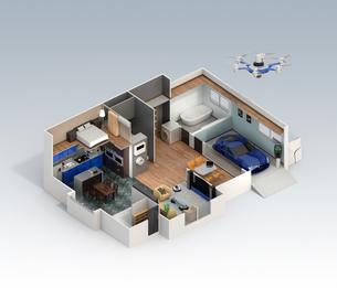 スマートホームのインテリア。省エネ家電製品によるエネルギー消費削減で環境負荷を低減できるの写真素材 [FYI04648262]