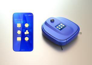 タッチパネル付きお掃除ロボットと専用アプリが備えたスマートフォン。スマート家電コンセプトの写真素材 [FYI04648266]
