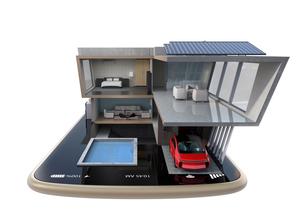 スマートフォンの上にある省エネスマートホーム。スマホアプリによるホームエネルギー管理コンセプトの写真素材 [FYI04648268]