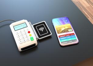 スマートフォンによるモバイルキャッシュレス決済のコンセプトの写真素材 [FYI04648274]