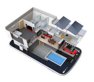 スマートフォンの上にある省エネスマートホーム。スマホアプリによるホームエネルギー管理コンセプトの写真素材 [FYI04648276]