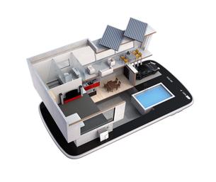 スマートフォンの上にある省エネスマートホーム。スマホアプリによるホームエネルギー管理コンセプトの写真素材 [FYI04648280]