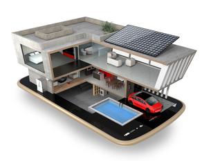 スマートフォンの上にある省エネスマートホーム。スマホアプリによるホームエネルギー管理コンセプトの写真素材 [FYI04648281]