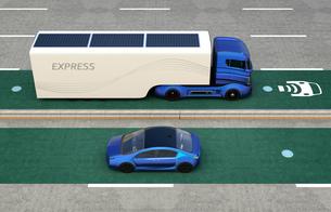 電気自動車非接触充電レーンに走行する電気自動車の写真素材 [FYI04648315]