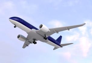 飛行中の旅客機のCGレンダリングイメージの写真素材 [FYI04648350]